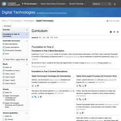 The Australian Curriculum v7.0 Digital Technologies Foundation to Year 10 Curriculum by rows