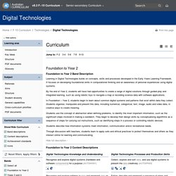 Digital Technologies Foundation to Year 10 Curriculum by rows - The Australian Curriculum v7.3