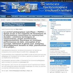 Portail Pédagogique Spécifique « Popec » - Sciences et Technologies Industrielles - Académie de CAEN