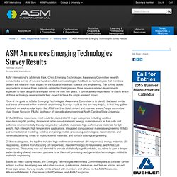 ASM Announces Emerging Technologies Survey Results - ASM International