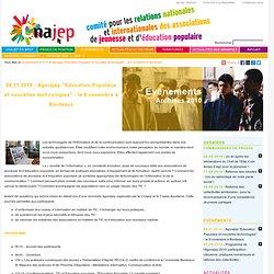 """2010 - Agorajep """"Education Populaire et nouvelles technologies"""" - le 9 novembre à Bordeaux"""