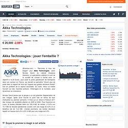 Akka Technologies : jouer l'embellie ? - Boursier.com - Cotation
