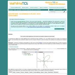 Géométrie algébrique plane avec GeoGebra