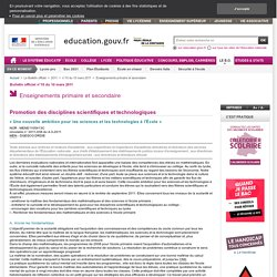 « Une nouvelle ambition pour les sciences et les technologies à l'École » - MENE1105413C