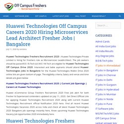 Huawei Technologies Freshers Recruitment 2020 Hiring Microservices Lead Architect Jobs