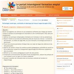 Formation : Technologies numériques, multimédia et didactique du français langue étrangère (FLE) de l'organisme Université Stendhal - Grenoble 3