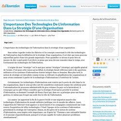 L'importance Des Technologies De L'information Dans La ...