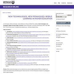 New technologies, new pedagogies: Mobile learning in higher education