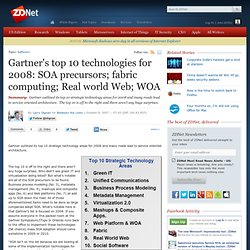 » Gartner's top 10 technologies for 2008: SOA precursors; fabric