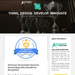 Arthonsys Technologies Exclusive Android Apps Wins GoodFirms Recognition