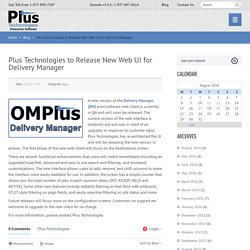 Plus Technologies to Release New Web UI for Delivery Manager