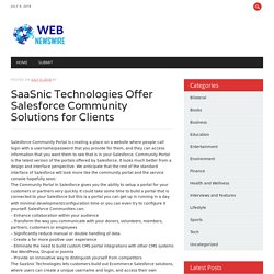 SaaSnic Technologies Offer Salesforce Community Solutions for Clients