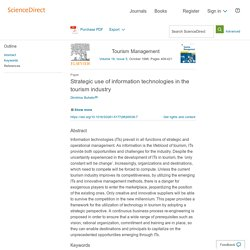 Strategic use of information technologies in the tourism industry - ScienceDirect