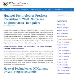 Huawei Technologies Off Campus Jobs Hiring 2020 for Software Engineer