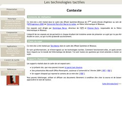 Les technologies tactiles - Contexte