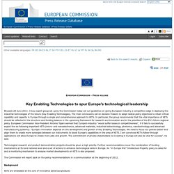 Key Enabling Technologies to spur Europe's technological leadership