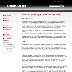 Web 2.0 Technologies: How We See Them - Contestation