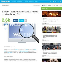 5 Web Technologies and Trends to Watch in 2011