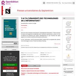 Y-a-t-il (vraiment) des technologies de l'information ? - Presses universitaires du Septentrion