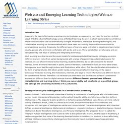 Web 2.0 and Emerging Learning Technologies/Web 2.0 Learning Styles - Wikibooks, open books for an open world