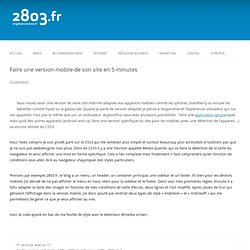 Faire une version mobile de son site en 5 minutes