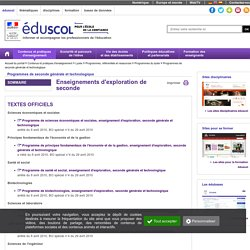Programme - Enseignements d'exploration 2nde