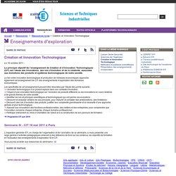 Création et Innovation Technologique - Sciences et techniques industrielles