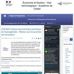 (CEJM) Culture économique juridique et managériale : Retour (...) -