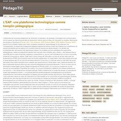 L'EAP: une plateforme technologique comme tremplin pédagogique