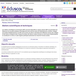 Culture scientifique et technologique - Ateliers scientifiques et techniques