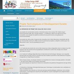 Projets Technologiques et Développement Durable - Collège George SAND - La Motte-Servolex