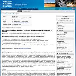 Natures Sciences Sociétés 21, 71-76 (2013) Agriculture, modèles productifs et options technologiques : orientations et débats