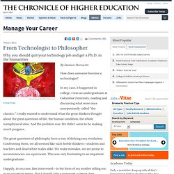 From Technologist to Philosopher - Manage Your Career