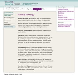 Assistive Technology (Mental Health) — Accessibility Resources for Advocates
