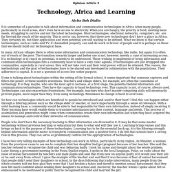 Technology, Africa and learning