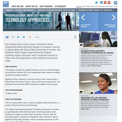 Goldman Sachs - Degree level Technology Apprentices