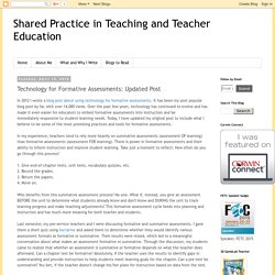 Technology for Formative Assessments: Updated Post