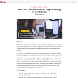 Rock Solid Leads for AU and NZ's Top Technology... - Callbox Success Stories - Quora