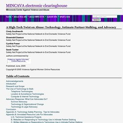 A High-Tech Twist on Abuse: Technology, Intimate Partner Stalking, and Advocacy - MINCAVA Electronic Clearinghouse