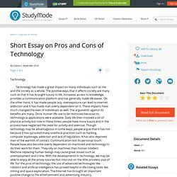 modern technology pros and cons essays