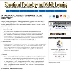 Educational Technology and Mobile Learning: 14 Technology Concepts Every Teacher should Know about