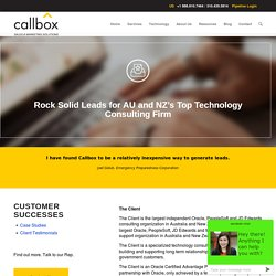 Rock Solid Leads for AU and NZ's Top Technology Consulting Firm - B2B Lead Generation Company Malaysia