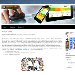 18th Technology: Developing Mobile Apps to Make Lives Easier and Enjoyable!!