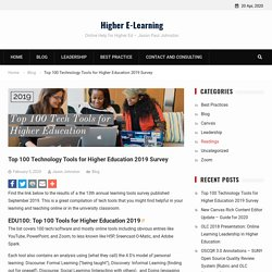 Top 100 Technology Tools for Higher Education 2019 Survey - Higher E-Learning