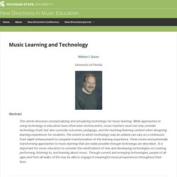 Music Learning and Technology - New Directions In Music EducationNew Directions In Music Education