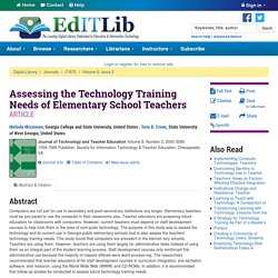 Assessing the Technology Training Needs of Elementary School Teachers