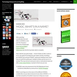 MOOC, what's in a name?