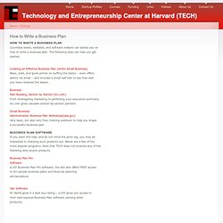 How to Write a Business Plan | Technology and Entrepreneurship Center at Harvard (TECH)