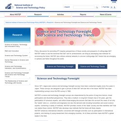 Science and Technology Foresight and Science and Technology Trends