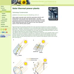 Technology Fundamentals: Solar thermal power plants